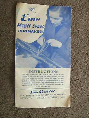 Vintage Emu High Speed Rugmaker Instructions Booklet Sheet