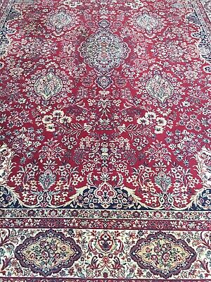 Handmade Knotted Natural Wool Carpet Antique Vintage 1900