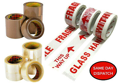 LONG LENGTH PACKING TAPE STRONG BROWN CLEAR FRAGILE 48mm x 66M PARCEL TAPE