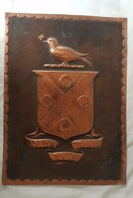 Probably Copper Bird Plaque Emblematic Shield With Latin 'Truth Without Fear'