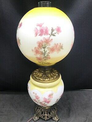 Antique Oil Lamp Hand Painted GWTW Floral Gone with the Wind Consolidated
