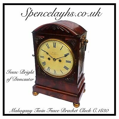 Twin Fusee Mahogany Bracket Clock By Bright Of Doncaster