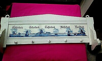 Delft Tile + Wood Wall Hanging Towel Key Rack German Dutch Antique / Vintage