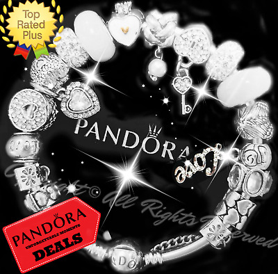 "Pandora Charm Bracelet Silver White  ""LOVE STORY"" with European Charms New Box"