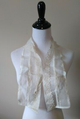 Victorian Edwardian Collar Embroidered Sheer Organdy Pleated Yoke Lace Antique