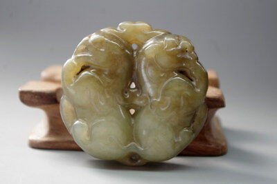 Exquisite 19/20th Vintage Chinese natural jade hand carved DRAGON pendant XT036