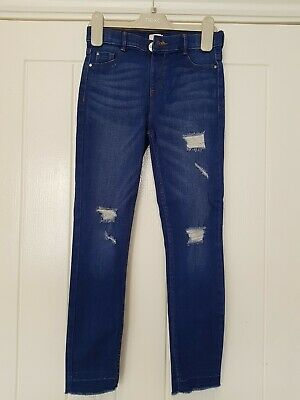 River Island Blue Ripped Denim Skinny Fit Jeans Age 8 Years Great Condition