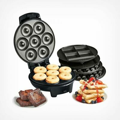 Doughnut Maker Waffle Iron Machine Brownie Cooking Kitchen Non Stick Plate 3 in1
