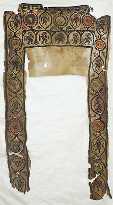 Ancient Coptic Large Textile Fragment - Soldier and Bird Pattern, Christian Arts
