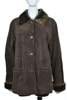 Dennis Basso Womens Coat Size L Brown Suede Leather Casual Softshell Jacket