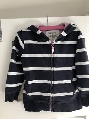 Joules Girls Hoodie / Jumper  Navy Blue Stripe With Zip Size age 5