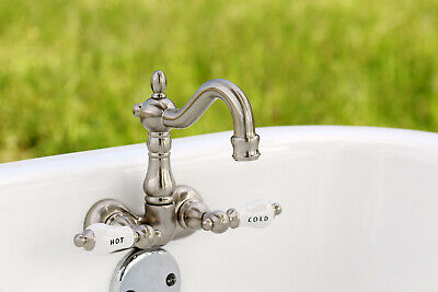 Antique Style Kingston Satin Nickel Wall Clawfoot Tub Filler CC1073T8 Faucet