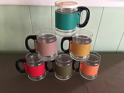 Vintage Tuttle Cottage Cheese Glass Mugs set 6 different color bands 11 oz NICE!