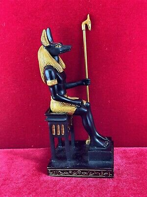 Egyptian Anubis Sitting God of Mummification- Black Gold Finish