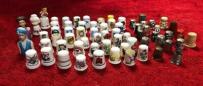 Mixed Lot Of Vintage Collectible Thimbles, Total Of 67, Very Nice!