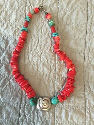 Silver coral turquoise Chunky Necklace.