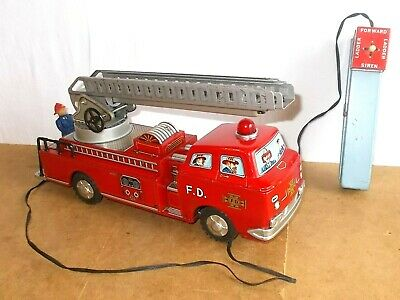 Vintage tin toy - MODERN TOYS made in Japan - FIRE TRUCK LADDER - work - 60s
