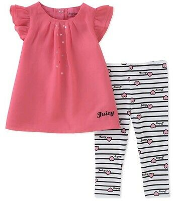 Juicy Couture Baby Girls 2 Pieces Tunic Sets, Hot Pink, 24M