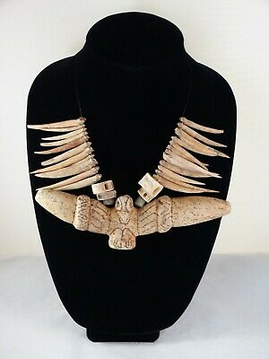 Taino carved stone pectoral & bone Necklace