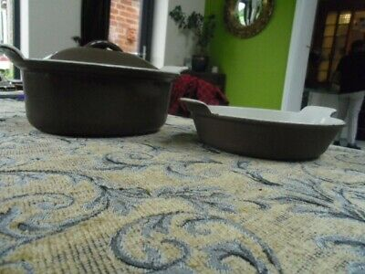 Vintage Cousances  Early Le Creuset Oval Brown Casserole Dish and oven dish.
