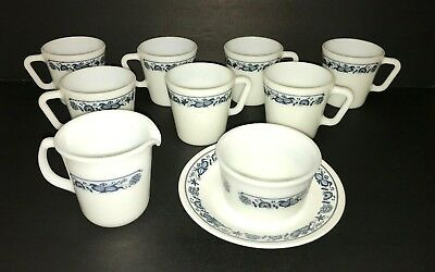 Pyrex Corning Old Town Blue Onion Lot D Coffee Cup Mugs Creamer Sugar Plate