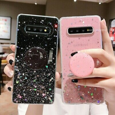 Glitter Case For Samsung Galaxy Note S10 S9 S8 With Pop Up Holder Socket Relief