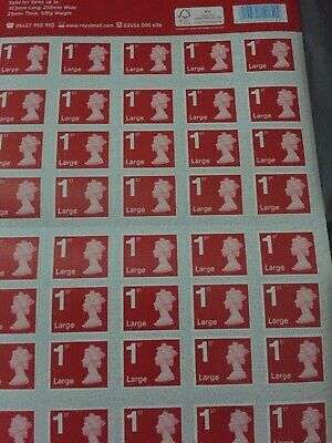 2x Sheets Of 50 Royal Mail First Class Large Letter size 1st Class 100  Stamps