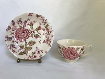 Johnson Bros Rose Chintz Pink Floral Ironstone Cup & Saucer England