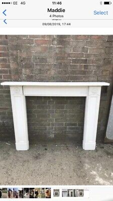 Reclaimed Carved White Stat Marble Fireplace Surround