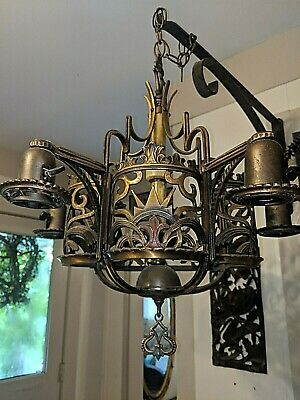 GORGEOUS VTG ANTIQUE 1920s BRONZE SPANISH REVIVAL POLYCHROME ART DECO CHANDELIER