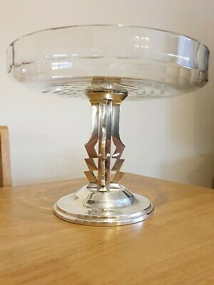Stunning Art deco Silver plate and Glass bowl NORBLIN & CO GALW WARSZAWA