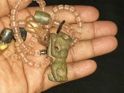 beautiful quartz gemstone necklace,precolumbian,chavin,moche,maya,olmec,stone