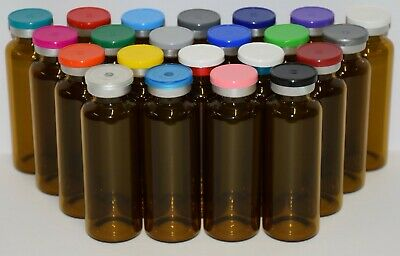 USP 30mL Tubular Amber Sterile Vial With Any Color Plain Flip Cap Seal 4 Pack