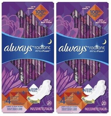 Always Radiant Size 4 Overnight Pads Light, Clean Scent 2 Pack