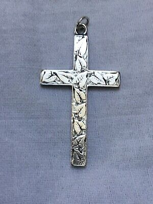 Antique Victorian Sterling Silver ornate Cross From 1890 England Leaf Design