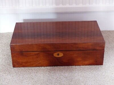 Antique / early (Victorian) Writing Slope /Box in flame mahogany veneer
