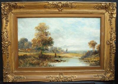 19th Century ENGLISH SCHOOL EXTENSIVE SUMMER LANDSCAPE Antique Oil Painting