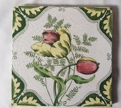 Charming English Floral Design Antique 6 Inch Tile Pretty