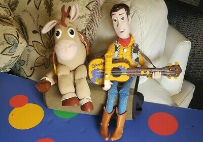 "DISNEY PIXAR 16"" Whistling Singing Guitar Playing WOODY TOY STORY PLUSH Bullseye"