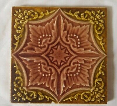 English Majolica Symmetrical Design Antique 6 Inch Tile
