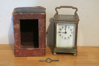 19Th Century French Carriage Clock, Works Great! Excellent Condition, Key & Case