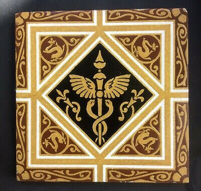Antique Victorian Minton Caduceus Medical Tile 2/5