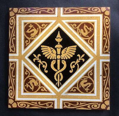 Antique Victorian Minton Caduceus Medical Tile 5/5