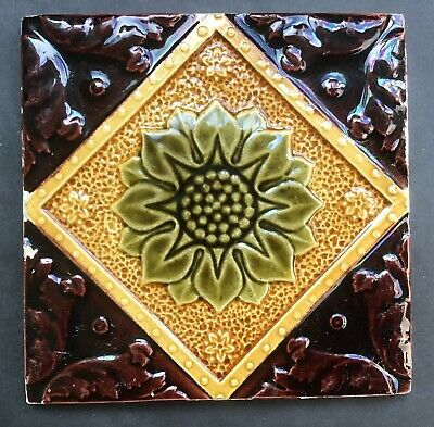 Antique Victorian Tile Majolica Impressed 1/5