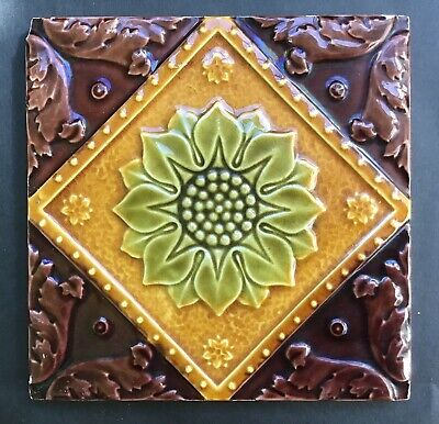 Antique Victorian Tile Majolica Impressed 4/5