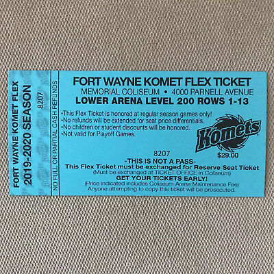 Fort Wayne Komets Flex Tickets - Lower Arena - Rows 1-13