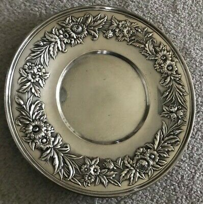 Vintage S. Kirk & Son Sterling Silver Repousse Plate #727 No Monos 10""