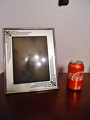 Vintage Art Deco Reverse Painted Picture Frame Chrome Easel Type