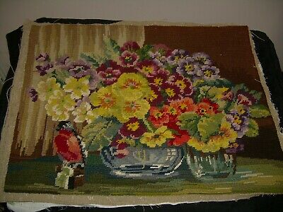 Completed vintage tapestry. Bowls primulas and bird, Colourful. Chair/stool top?
