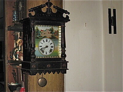 Victorian Antique German Schwarzwald, Black Forest Wall Clock, spring diven